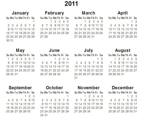 Click on Date to view Calendar. Feb. 28 - Mar 4, 2011